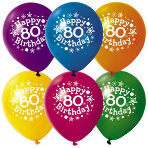 Balloon Happy 80th Birthday Pk 25 | Party Supply | Paper Party