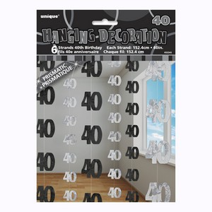 Glitz black 40th birthday hanging decoration pk 6 party for 40th birthday decoration packs