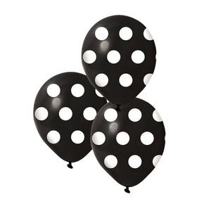 Balloon black polka dot white pk 25 limited stock party for Black and white polka dot decorations